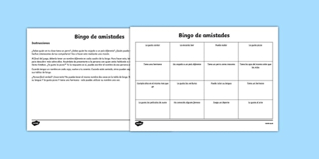 Bingo de amistades Back to School New Class Friendship Bingo Activity Spanish - spanish, Back to School, new start, new class, new friends, getting to know, first day back, pshe, all about me, classroom management