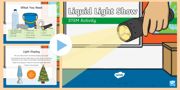 Liquid Light Show PowerPoint - Make it twinkle, STEM, Light, Energy, Forces, Experiment, KS1, KS2, Science