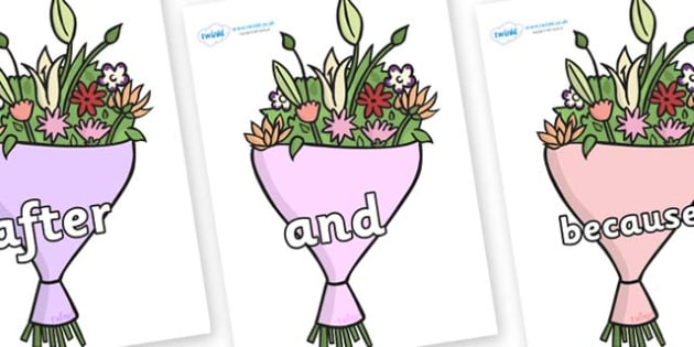 Connectives on Bouquets - Connectives, VCOP, connective resources, connectives display words, connective displays