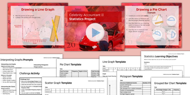 Celebrity Accountant II Statistics Project Pack - Maths, KS3, statistics, graphs, data handling, project, functional skills, finance