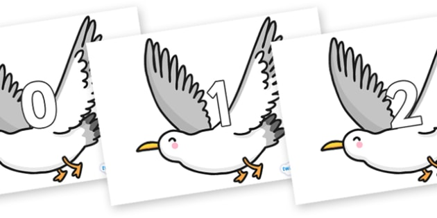 Numbers 0-31 on Seagulls - 0-31, foundation stage numeracy, Number recognition, Number flashcards, counting, number frieze, Display numbers, number posters