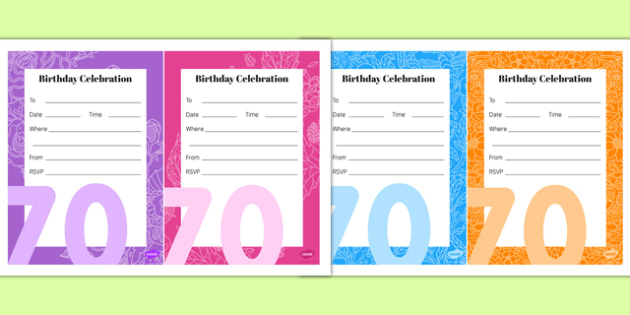 70th Birthday Party Invitations - 70th birthday party, 70th birthday, birthday party, invitations