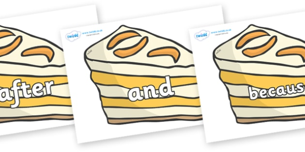Connectives on Peach Dessert to Support Teaching on The Lighthouse Keeper's Lunch - Connectives, VCOP, connective resources, connectives display words, connective displays