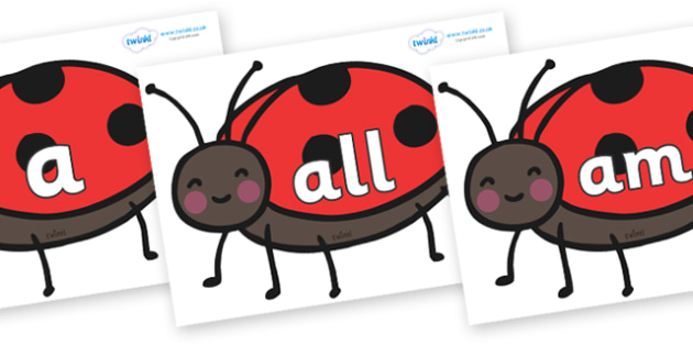 Foundation Stage 2 Keywords on Ladybirds - FS2, CLL, keywords, Communication language and literacy,  Display, Key words, high frequency words, foundation stage literacy, DfES Letters and Sounds, Letters and Sounds, spelling