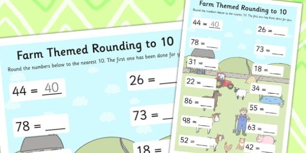 Farm Themed Rounding To 10 Worksheet - Farm, Rounding, Ten, 10