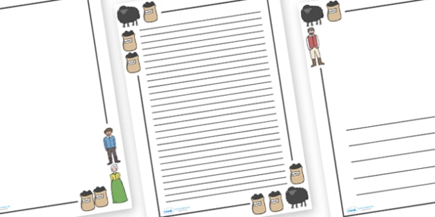Baa Baa Black Sheep Page Borders - Baa Baa Black Sheep, nursery rhyme, rhyme, rhyming, nursery rhyme story, nursery rhymes, Baa Baa Black Sheep resources, master, dame