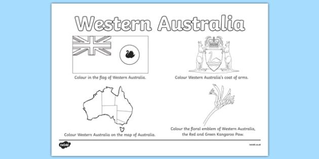 Western Australia Colouring Sheet - australia, colouring, flag, coat of arms, floral emblem, flag, map, Australia, Art, Geography, states, territories