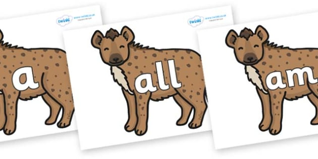 Foundation Stage 2 Keywords on Hyenas - FS2, CLL, keywords, Communication language and literacy,  Display, Key words, high frequency words, foundation stage literacy, DfES Letters and Sounds, Letters and Sounds, spelling
