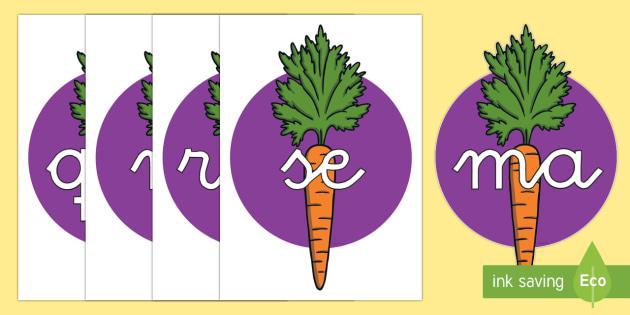 Tarjetas de sílabas: Zanahorias - lecto, leer, primeros sonidos, comida