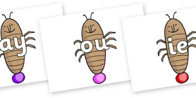 Phase 5 Phonemes on Glowworm to Support Teaching on James and the Giant Peach - Phonemes, phoneme, Phase 5, Phase five, Foundation, Literacy, Letters and Sounds, DfES, display