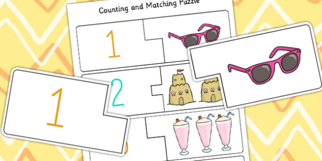 Summer Themed Counting Matching Puzzle - summer, puzzles, games