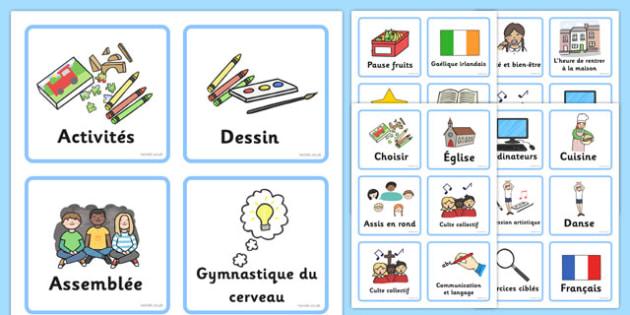 Emploi du temps visuel Français - french, Visual Timetable, SEN, Daily Timetable, School Day, Daily Activities, Daily Routine, Foundation Stage, visuel, francais, emploi du temps