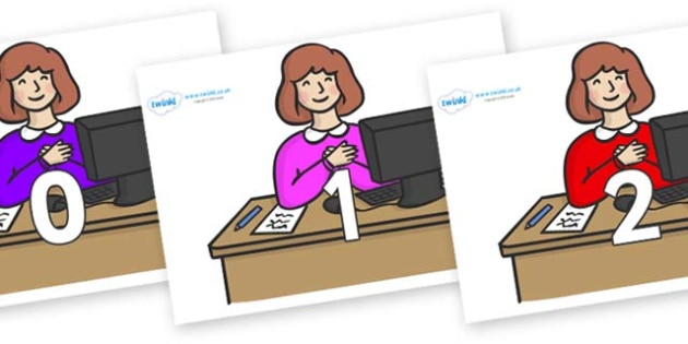 Numbers 0-50 on Receptionist - 0-50, foundation stage numeracy, Number recognition, Number flashcards, counting, number frieze, Display numbers, number posters