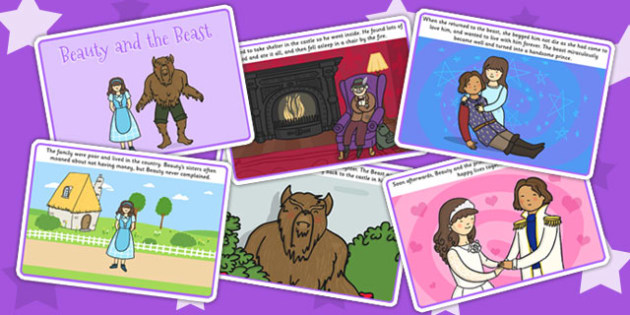 Beauty and the Beast Story Cards - traditional tales, stories