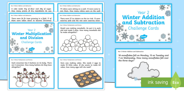 Year 2 Winter Themed Maths Challenge Cards - Winter, snow, snowflake, hot chocolate, snowman, carrot, coal, tree, fir, evergreen, stocking, biscu