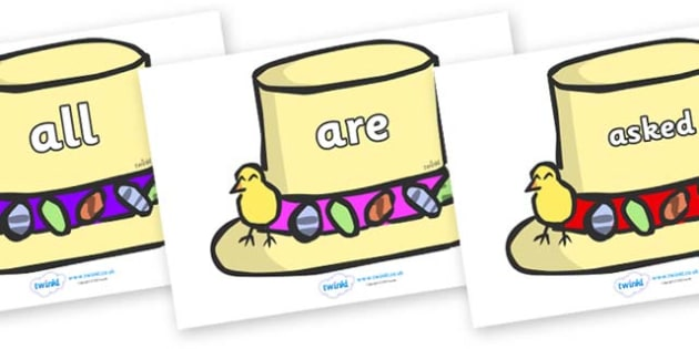 Tricky Words on Easter Bonnets - Tricky words, DfES Letters and Sounds, Letters and sounds, display, words