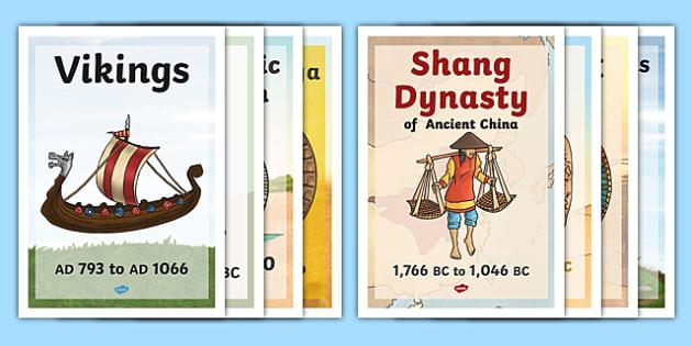 KS2 World History Timeline Posters - ks2, world history, timeline