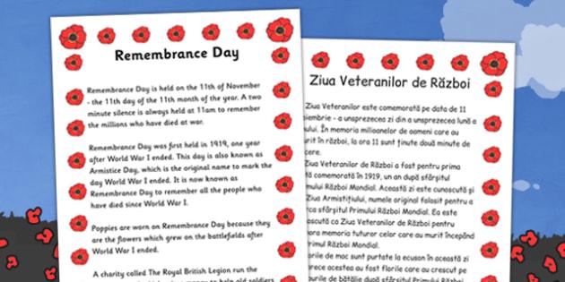 Remembrance Day Information Sheet Romanian Translation - romanian, remembrance day