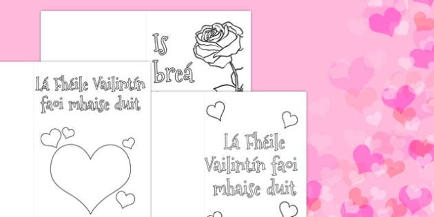 Valentine's Day Card Colouring Templates Gaeilge - gaeilge, Valentine's Day, Valentine, love, Saint Valentine, heart, kiss, colouring, fine motor skills, poster, worksheet, vines, A4, display, cupid, gift, roses, card, flowers, date, letter