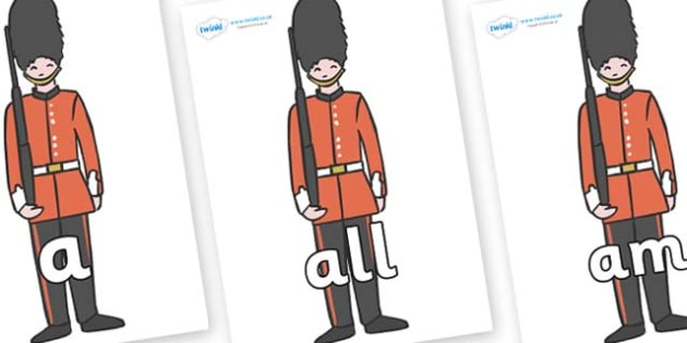 Foundation Stage 2 Keywords on Royal Guards - FS2, CLL, keywords, Communication language and literacy,  Display, Key words, high frequency words, foundation stage literacy, DfES Letters and Sounds, Letters and Sounds, spelling