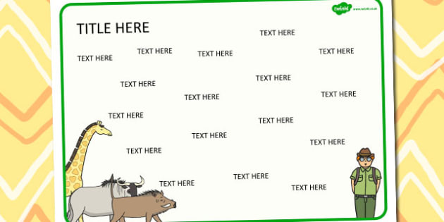Safari Themed Editable Word Mat -  literacy, words, writing