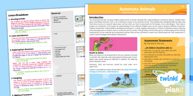 PlanIt - Design and Technology UKS2 - Automata Animals Planning Overview - planit, design and technology, uks2, automata animals, planning overview