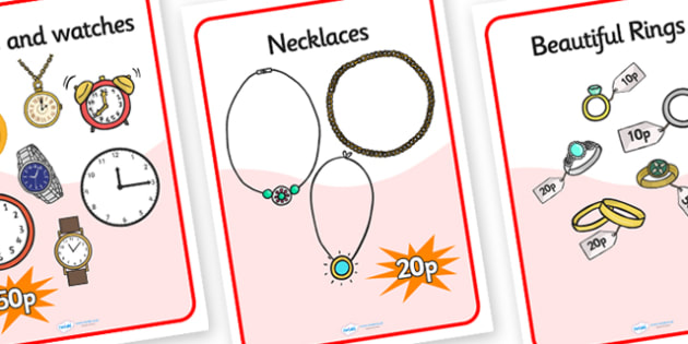 Jewellery Shop Role Play Posters - jewellery, jewellery shop role play, jewellery posters, jewellery shop price posters, jewellery shop advertising posters