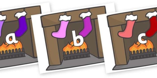 Phase 2 Phonemes on Fireplace & Stockings - Phonemes, phoneme, Phase 2, Phase two, Foundation, Literacy, Letters and Sounds, DfES, display