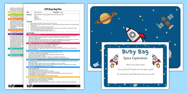Space Exploration Activity EYFS Busy Bag Plan and Resource Pack - Space, sensory, rice