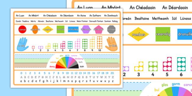 Useful Placemat Visual Aid Gaeilge - placemat, visual aid, aid, visual
