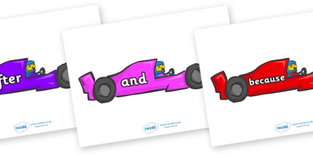 Connectives on Racing Cars - Connectives, VCOP, connective resources, connectives display words, connective displays