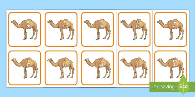 Camel Number Bonds to 20 Matching Cards - UAE Maths Resources, UAE maths, numbers to 20, numbers bonds to 20