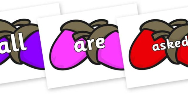 Tricky Words on Acorns - Tricky words, DfES Letters and Sounds, Letters and sounds, display, words