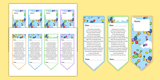 End Of Year Poem Editable Bookmarks End Of Year Poem