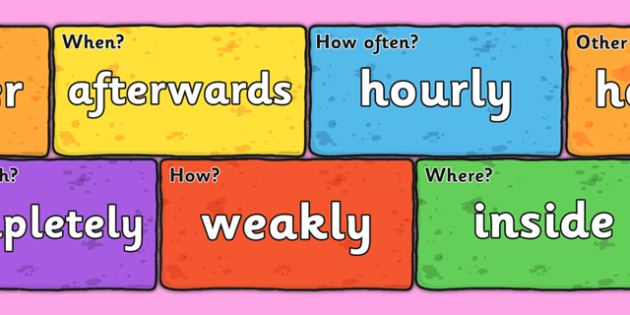 Adverbs on Bricks - adverbs, bricks, words, images, display, display bricks