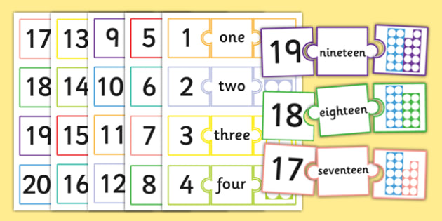 Number Jigsaws 1-20 - number jigsaws, number, jigsaws, 1-20, numeracy