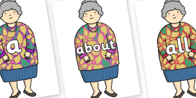 100 High Frequency Words on Little Old Lady - High frequency words, hfw, DfES Letters and Sounds, Letters and Sounds, display words
