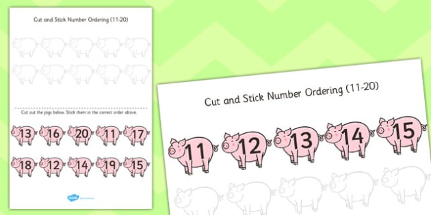 Farm Themed Cut and Stick Number Ordering Activity 11-20 - farm