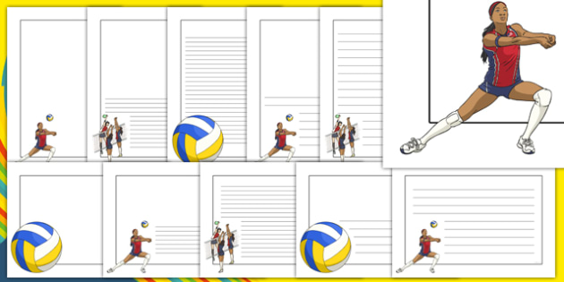 The Olympics Volleyball Page Borders - Volleyball, Olympics, Olympic Games, sports, Olympic, London, 2012, page border, border, writing template, writing aid, writing, activity, Olympic torch, events, flag, countries, medal, Olympic Rings, mascots, f