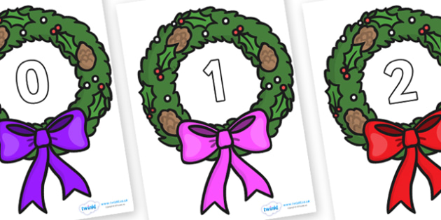 Numbers 0-100 on Christmas Wreaths - 0-100, foundation stage numeracy, Number recognition, Number flashcards, counting, number frieze, Display numbers, number posters