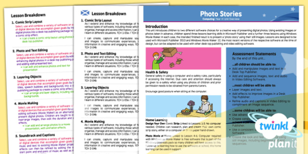 PlanIt - Computing Year 4 - Photo Stories Planning Overview CfE - planit, CfE, ICT, photos, moviemaker, computer, movies