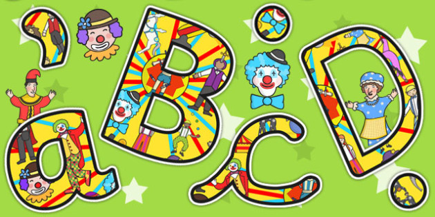Circus Themed Size Editable Display Lettering - display letters