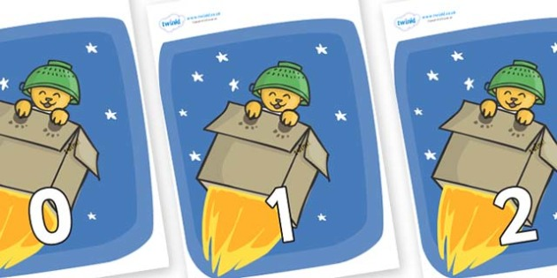 Numbers 0-100 on Rockets (Whatever Next) to Support Teaching on Whatever Next! - 0-100, foundation stage numeracy, Number recognition, Number flashcards, counting, number frieze, Display numbers, number posters