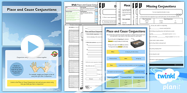 PlanIt Y3 SPaG Lesson Pack Place Cause Conjunctions  - Connectives