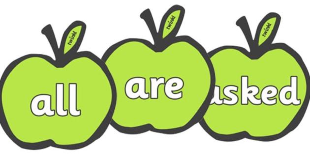 Tricky Words on Apples - Tricky words, DfES Letters and Sounds, Letters and sounds, Apple, apples, fruit, A4, display, harvest,  harvest festival, fruit, apple, pear, orange, wheat, bread, grain, leaves, conker