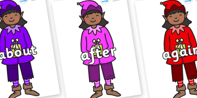 KS1 Keywords on Girl Elves (Multicolour) - KS1, CLL, Communication language and literacy, Display, Key words, high frequency words, foundation stage literacy, DfES Letters and Sounds, Letters and Sounds, spelling