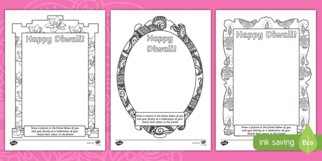 Diwali Draw and Colour in Picture Frame Activity