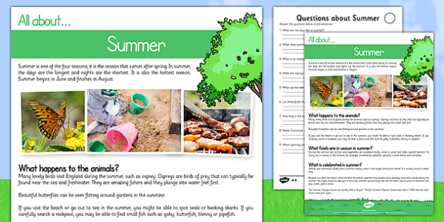 Summer Comprehension Differentiated Activity Sheet Pack - summer, reading, comprehension questions, answers, KS1 reading pack, worksheet