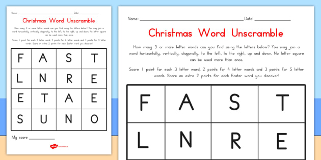 Christmas Word Unscramble - australia, christmas, unscramble