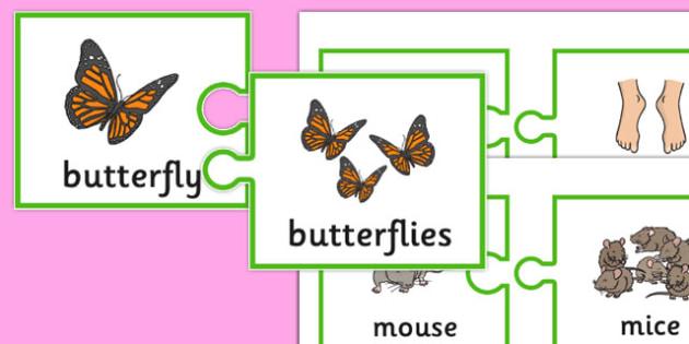 Irregular Plurals Jigsaws - SLI (specific language impairment), grammar, EAL, language disorder, Language delay
